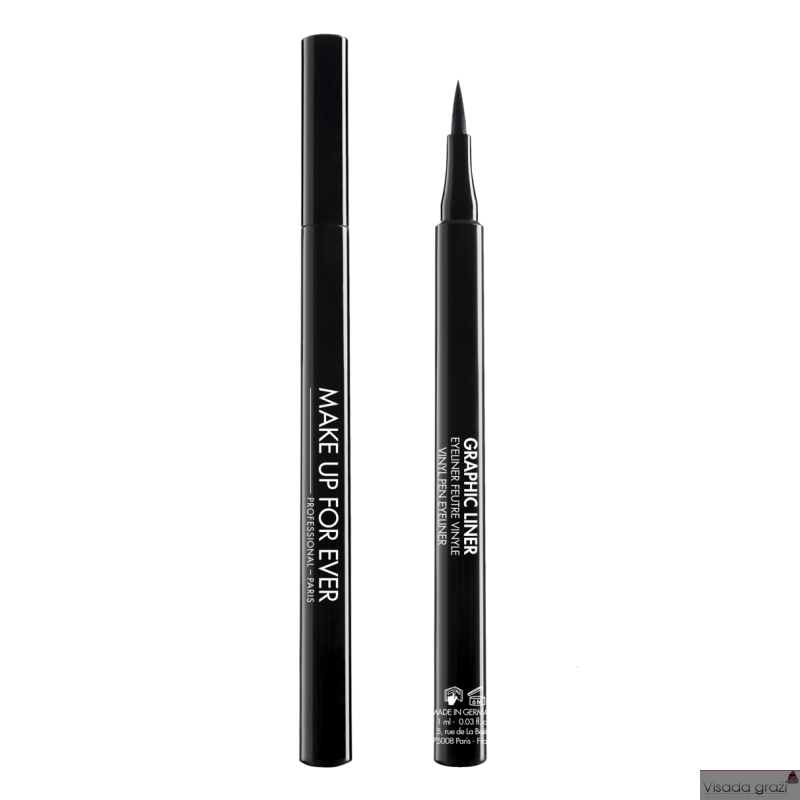 MAKE UP FOR EVER GRAPHIC LINER Vinyl Pen Eyeliner, juoda plunksnelė akių pravedimams, 1ml