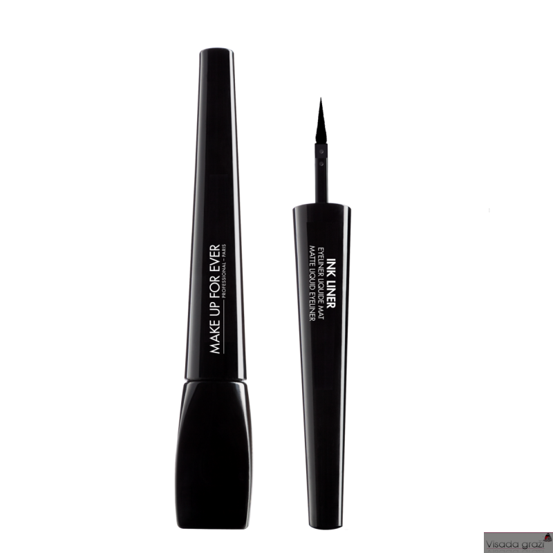 MAKE UP FOR EVER INK LINER Matte Liquid Eyeliner,  juoda matinė plunksnelė akių pravedimams, 3,5g