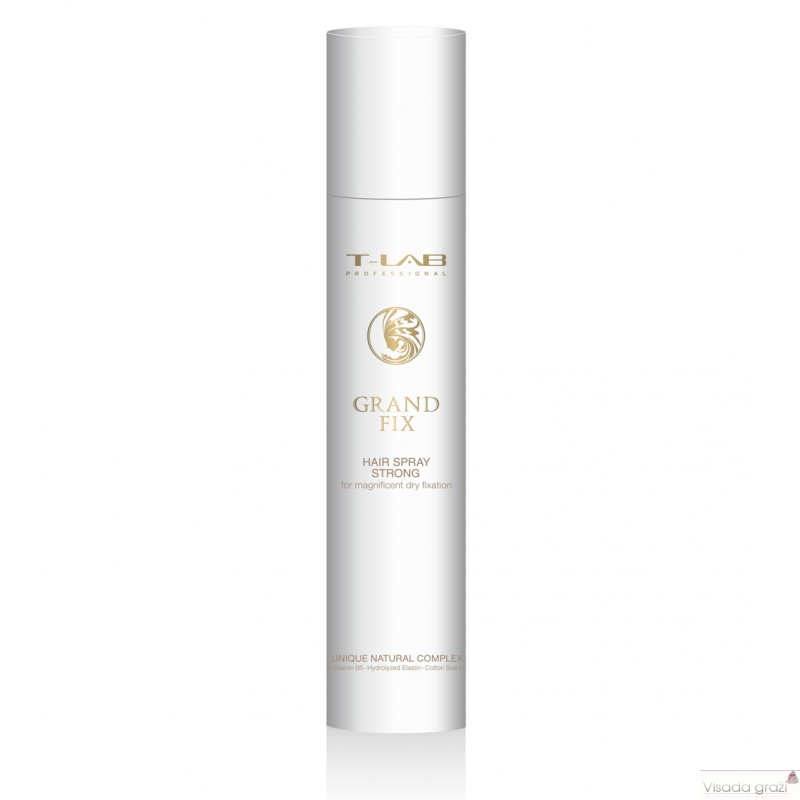 KOSMETIKA PLAUKAMS / T-LAB PROFESSIONAL GRAND FIX HAIR SPRAY STRONG Stiprios fiksacijos plaukų lakas, 300ml